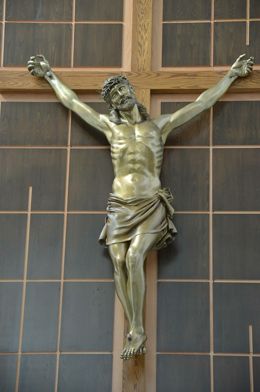 corpus christ on cross bronze by nilda comas